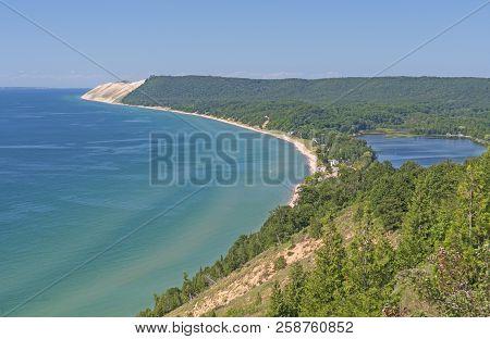 Coastal Sand Dune Vista in the Summer in Sleeping Bear Dunes National Lakeshore in Michigan poster