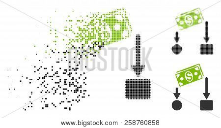 Cash Flow Icon In Dispersed, Pixelated Halftone And Undamaged Variants. Elements Are Organized Into