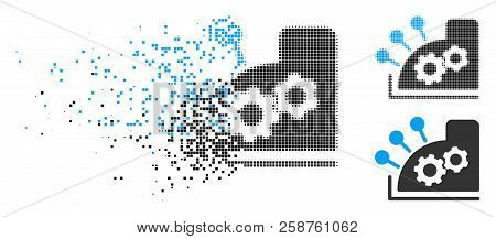 Cash Register Icon In Fragmented, Pixelated Halftone And Undamaged Versions. Pixels Are Composed Int