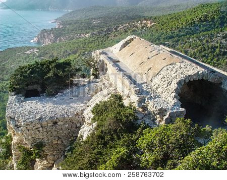 Ruins Of The Monolithos Fortress On The Island Of Rhodes. Greece