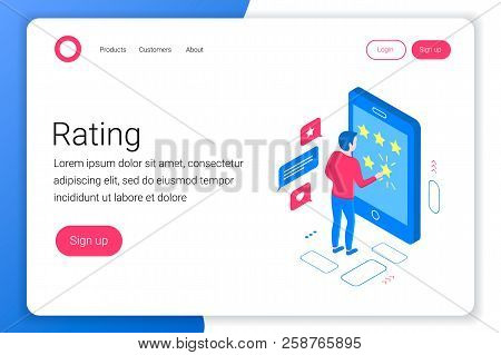 Rating Isometric Concept. Man Puts A Rating Of 5 Stars In A Smartphone. Flat 3d Style. Landing Page