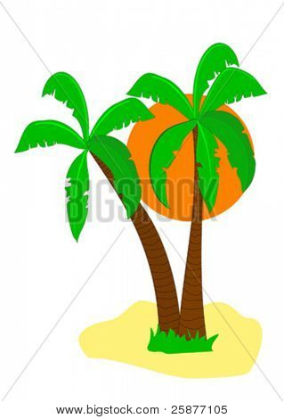 A vector illustration of a desert island with palm trees and a large orange sun