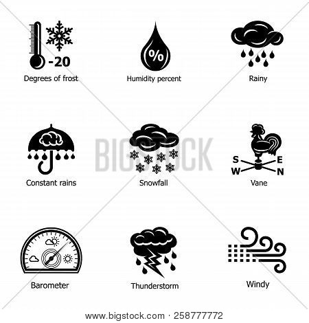 Frosty Weather Icons Set. Simple Set Of 9 Frosty Weather Vector Icons For Web Isolated On White Back