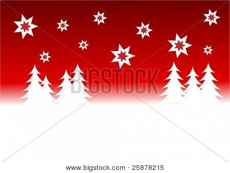 a red christmas background illustration with a red starry sky over a white tree lined snowy hill