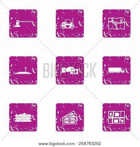 Seaport Icons Set. Grunge Set Of 9 Seaport Vector Icons For Web Isolated On White Background