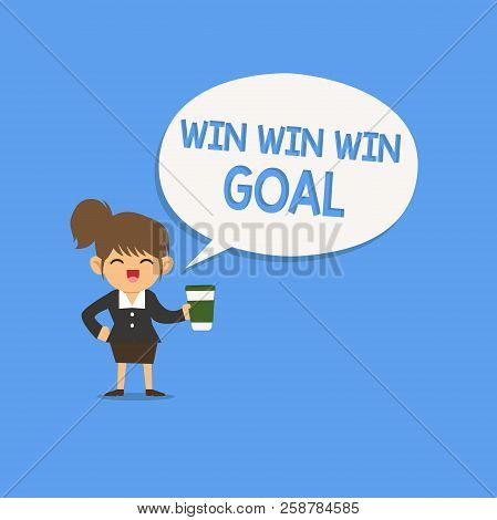 Handwriting Text Writing Win Win Win Goal. Concept Meaning Approach That Aims To Satisfy All Parties