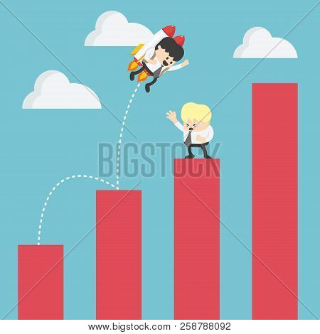 Businessman Drifting Across The Stock Graph With Rocket