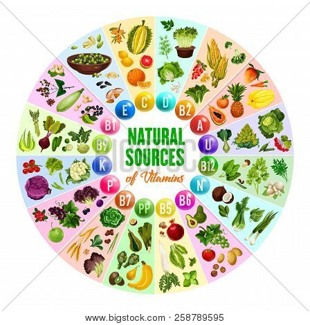 Natural Vitamin Source Poster With Round Chart Of Multivitamin Pill And Vegetarian Food Ingredient.