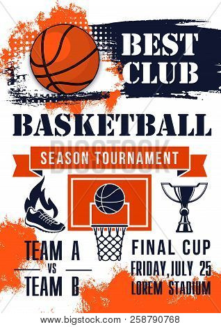 Basketball Ball, Champion Trophy Cup And Basket Shield Grunge Poster With Ribbon Banner For Sporting