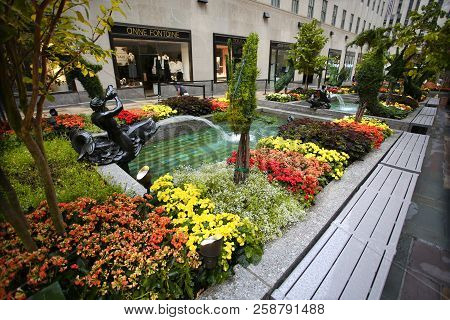 New York, Usa - August 23, 2018: Rockefeller Plaza, Beautiful Blooming Flower, Fountain And Sculptur