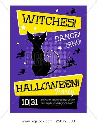 Poster With Cat For Halloween Party With Purple Background. Black Cat And Silhouettes Of Witches On