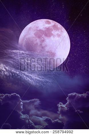Super Moon. Beautiful Vivid Skyscape With Many Stars. Landscape Of Night Sky With Full Moon Behind P