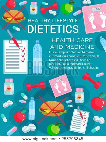 Dietetics Medicine, Diet Nutrition And Healthy Lifestyle Elements. Weight Loss Consultation Of Nutri