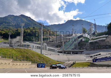 Krasnaya Polyana, Sochi, Russia, 26, September, 2015: View Of Olympic Venue, Krasnaya Polyana, Sochi