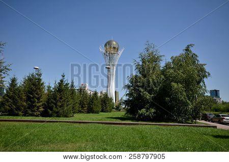 Water-green Boulevard, Astana, Kazakhstan July, 2015: View Of The Monument Bayterek, Symbol Of Kazak