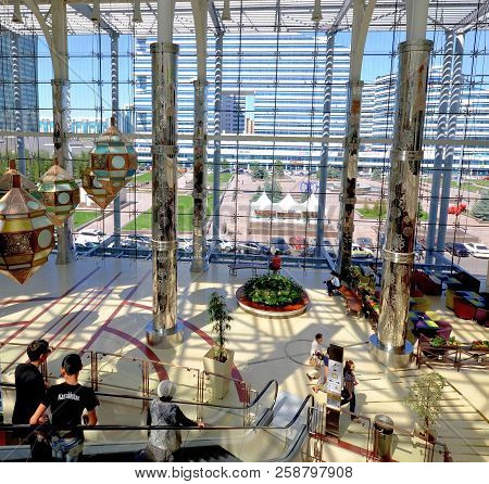 Water-green Boulevard, Astana, Kazakhstan July, 2015: View From The Shopping Center On The Water Gre