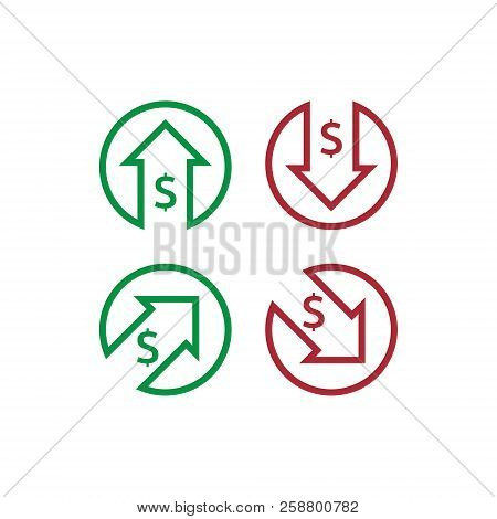 dollar increase decrease icon. Money symbol with arrow stretching rising up and drop fall down. Business cost sale and reduction icon. vector illustration. poster