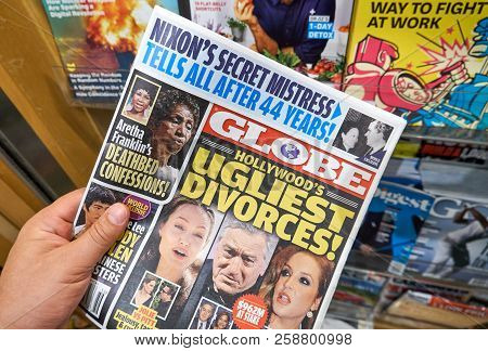 Miami, Usa - August 22, 2018: Globe Tabloid In A Hand. Globe Is A Supermarket Tabloid