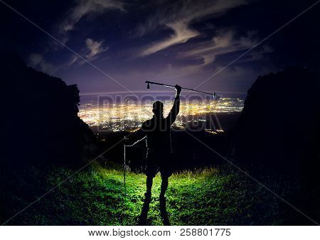 Man At Night In The Mountain