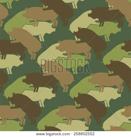 Pig Sex Army Pattern Eamless. Piggy Intercourse Military Background. Soldiery Pigs Ornament. Farm An