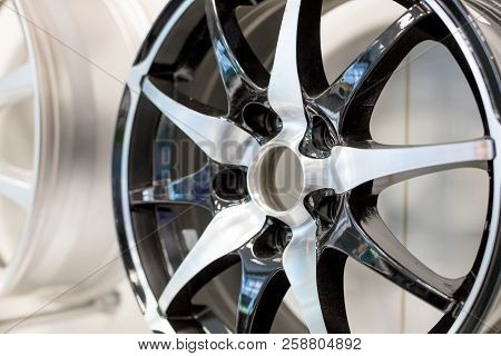 Car Wheel.close Up Of Rims Car Alloy Wheel.metal Disc Wheel For The Car At An Exhibition.selective F