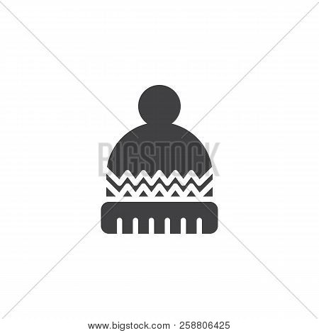 Winter Hat Vector Icon. Filled Flat Sign For Mobile Concept And Web Design. Knitted Hat With Pompom
