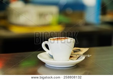 Close-up Of Espresso On The Table At Bar