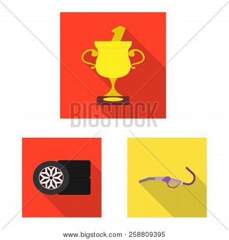 Vector Illustration Of Car And Rally Icon. Set Of Car And Race Stock Vector Illustration.
