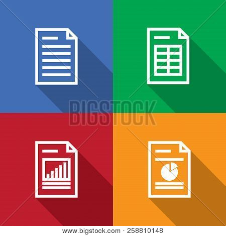Document, Spreadsheet, Graphic Outline. Line Icon Set