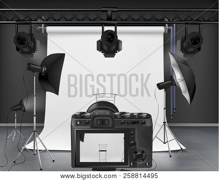 Vector Photo Studio With White Roll-up Screen, Digital Camera, Spotlights And Softboxes On Tripod St