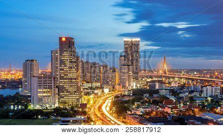 Bangkok City - Aerial View Of Bangkok City Downtown Cityscape Urban Skyline At Night , Landscape Tha
