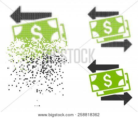 Money Exchange Icon In Dissolved, Dotted Halftone And Solid Versions. Elements Are Arranged Into Vec