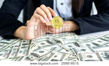 Business Man Rich Trader Holding Bitcoin Golden Coin For Business Bitcoin Trader Exchange New Us Dol