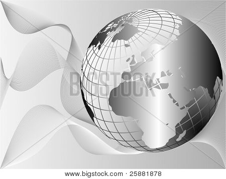 A silver metallic earth globe vector on a lighter background with flowing waves