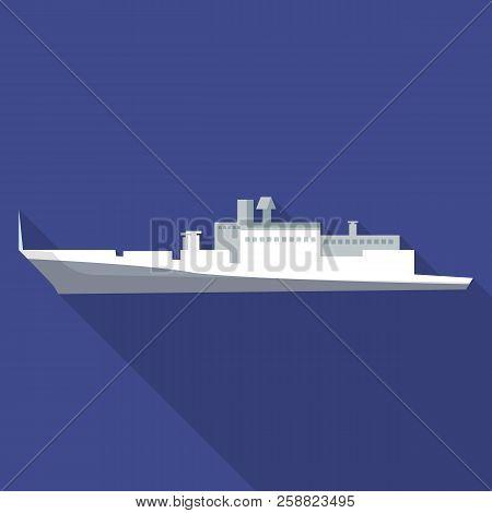 Cargo Passenger Ship Icon. Flat Illustration Of Cargo Passenger Ship Icon For Web Design