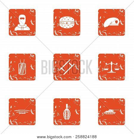 Risk Icons Set. Grunge Set Of 9 Risk Icons For Web Isolated On White Background