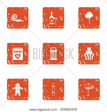 Find The Pairs Icons Set. Grunge Set Of 9 Find The Pairs Icons For Web Isolated On White Background