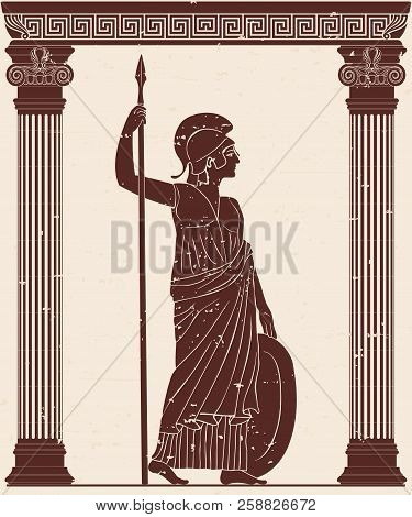 Ancient Greek Goddess Of War And Wisdom Athena Pallada With A Spear And Shield In The Hands In The T
