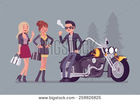 Cool Rocker Boy In A Biker Leather Jacket With Pompadour Haircut Near Chopper, Interesting For Young