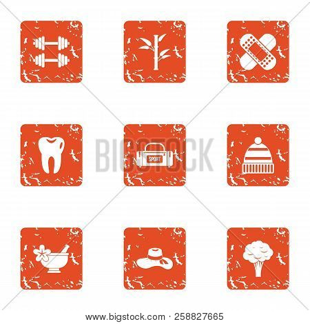 Physical Fitness Icons Set. Grunge Set Of 9 Physical Fitness Icons For Web Isolated On White Backgro