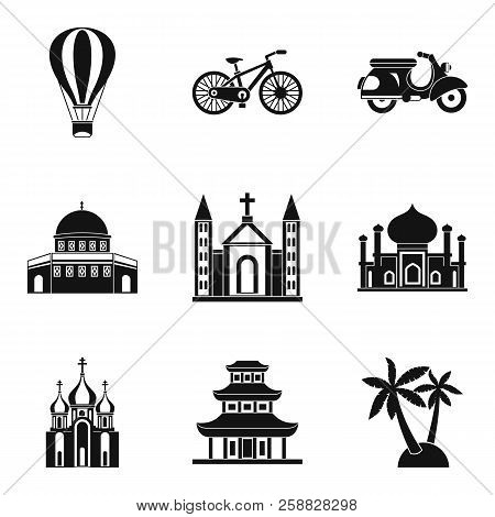 Cultural distinction icons set. Simple set of 9 cultural distinction icons for web isolated on white background poster
