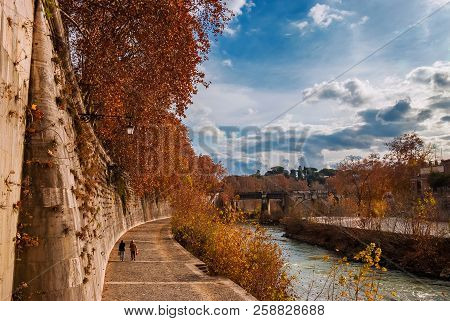Autumn and foliage in Rome. Afternoon walk along River Tiber with red and yellow leaves,  in the city historic center poster