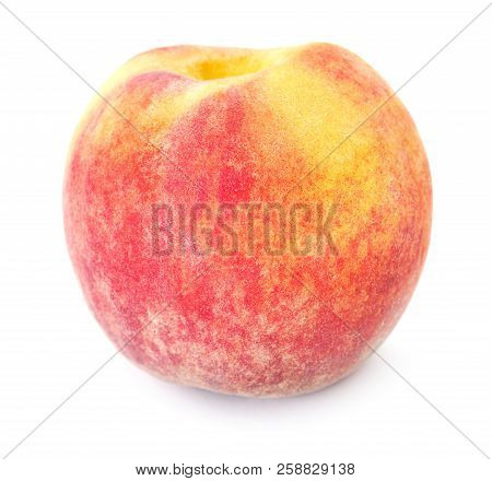 Close-up View Of Ripe Peach Isolated On White Background