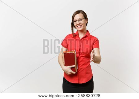 Portrait Of Young Teacher Woman In Red Shirt Skirt Glasses Hold Books, Stand With Outstretched Hand