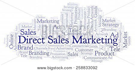 Word Cloud With Text Direct Sales Marketing. Wordcloud Made With Text Only.