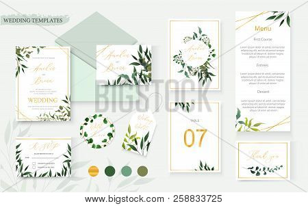 Wedding Floral Gold Invitation Card Envelope Save The Date Rsvp Menu Table Label Design With Green T