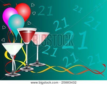 A twenty first birthday party vector background template with drinks glasses and balloons