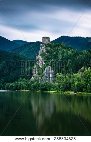 Ruins Of The Strecno Castle And The Vah River In Slovakia Shortly After Rain. Long Exposure.
