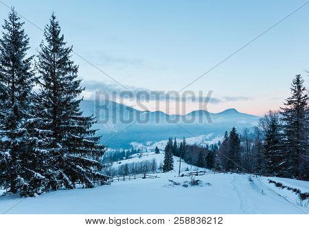 Sunrise Morning Winter Mountain Village Outskirts In Black Cheremosh River Valley Betwen Alp. View F