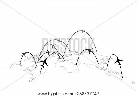 Airline Routes With Planes On Gray World Map In Perspective Isolated On White